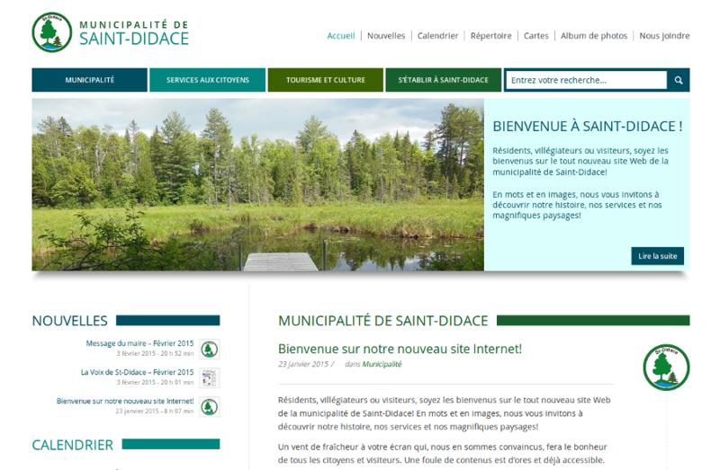 Nouveau site web de la Municipalité de Saint-Didace.