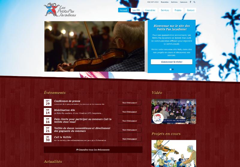 Page d'accueil du site Les Petits Pas Jacadiens au moment du lancement.