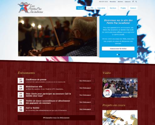 Page d'accueil du site des Petits Pas Jacadiens.