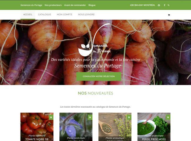 Page d'accueil du site Semences du Portage lors de la mise en ligne en janvier 2016.