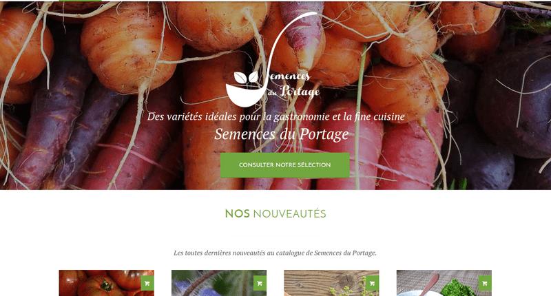 Page d'accueil du site Semences du Portage.