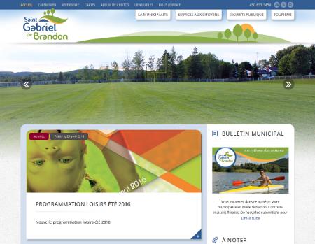 Page d'accueil du site de la Municipalité de Saint-Gabriel-de-Brandon.