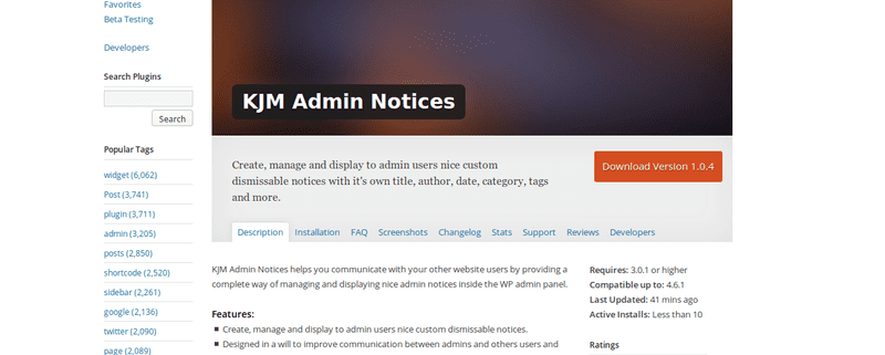 KJM Admin Notices sur WordPress.org